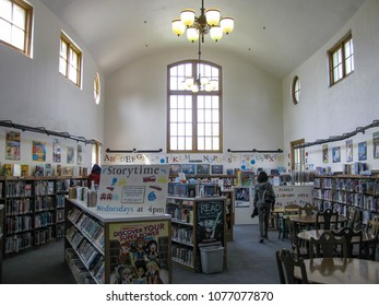 Los Angeles, California USA - April 5, 2018: Interior of Lincoln Heights Carnegie Library Children's section shows the curving floor plan and clerestory windows of the1916 building.