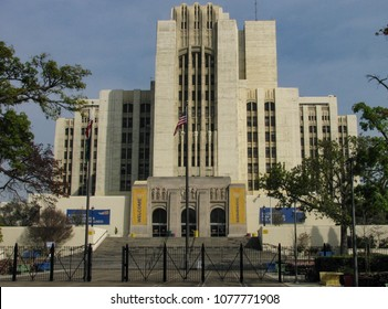 Los Angeles, California USA - April 5, 2018: Los Angeles - USC Medical Center building, Lincoln Heights. Art Deco hospital built in 1933, part of a large county-university medical complex.