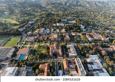 Los Angeles, California, USA - April 18, 2018:  Aerial view of UCLA campus and Westwood.
