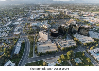 Los Angeles, California, USA - April 18, 2018:  Aerial view of Warner Center in the San Fernando Valley.  Proposed redevelopment plans include 1430 homes and a 15,000 seat arena.
