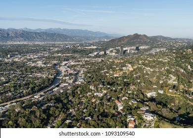 Los Angeles, California, USA - April 18, 2018:  Aerial view of the Sherman Oaks and Studio City neighborhoods in the San Fernando Valley.