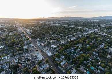 Los Angeles, California, USA - April 18, 2018:  Sunset aerial view of Burbank Blvd at Woodman Ave in the San Fernando Valley.