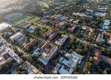 Los Angeles, California, USA - April 18, 2018:  Aerial overview of historic architecture on the UCLA campus near Westwood.