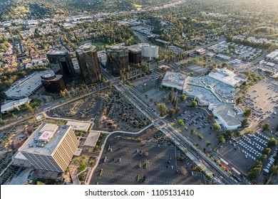 Los Angeles, California, USA - April 18, 2018:  Aerial view of Warner Center and the Promenade Mall future redevelopment site in the west San Fernando Valley.