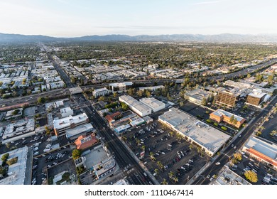 Los Angeles, California, USA - April 18, 2018:  Afternoon aerial view of Reseda Blvd and the Ventura 101 freeway in the sprawling San Fernando Valley.