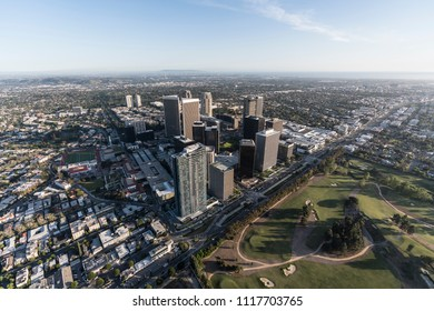 Los Angeles, California, USA - April 18, 2018:  Aerial view of Santa Monica Blvd and the Century City skyline in West LA.