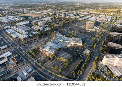 Los Angeles, California, USA - April 18, 2018:  Aerial view of Promenade Mall and Warner Center.  Proposed redevelopment plans include 1430 homes and a 15,000 seat entertainment and sports arena.