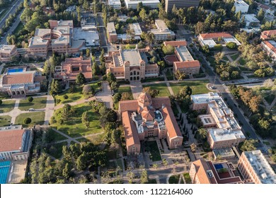 Los Angeles, California, USA - April 18, 2018:  Aerial overview of historic UCLA campus buildings near Westwood.