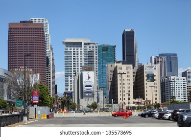 LOS ANGELES, CALIFORNIA, USA - APRIL 16 : View of south Downtown Los Angeles on April 16, 2013. Los Angeles has the second largest population in the US after New York at 3.8 million in 2010.