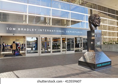 LOS ANGELES, CALIFORNIA, USA - APRIL 26, 2014 : The Tom Bradley International Terminal (TBIT) has 18 gates; nine on the north concourse and nine on the south concourse