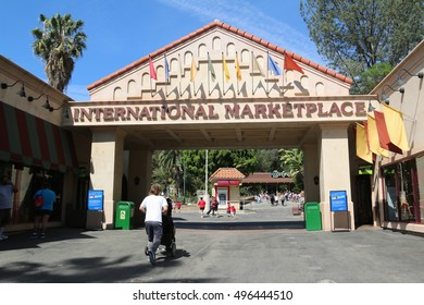 Los Angeles, California, USA - April 20, 2016: Many souvenir shops are located at international marketplace near the entrance of the Los Angeles Zoo and Botanical Gardens