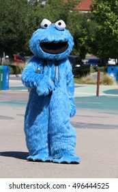 Los Angeles, California, USA - April 20, 2016: Cookie Monster, a Muppet on the long-running children's television show Sesame Street, is greeting tourists in front of Los Angeles Zoo.
