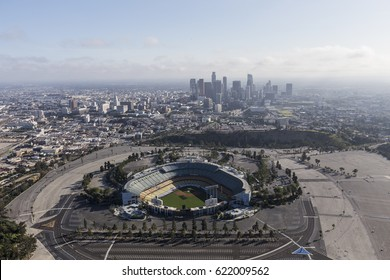 Los Angeles, California, USA - April 12, 2017:  Aerial view of the historic Dodger Stadium with downtown in background.