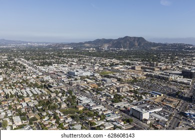 Los Angeles, California, USA - April 12, 2017:  Aerial view of North Hollywood and Griffith Park in the San Fernando Valley.