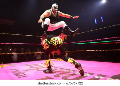 Los Angeles, California, USA; April 5, 2012; Mexican wrestlers, or luchadores, compete during the 'Lucha VaVoom Cinco de Mayan' at The Mayan Theatre.