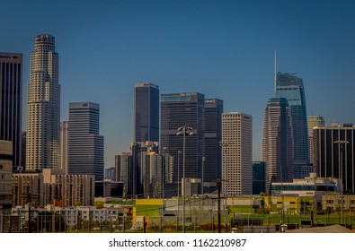 Los Angeles, California, USA, AUGUST, 20, 2018: Beautiful outdoor view of downtown Cityscape Los Angeles, California