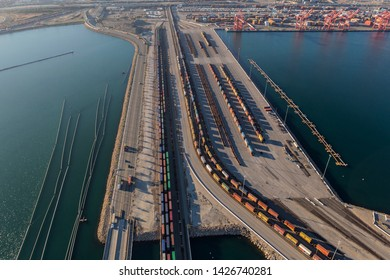 Los Angeles, California, USA - August 16, 2016:  Aerial view of cargo trains lined up at the Ports of Long Beach and Los Angeles.