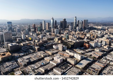 Los Angeles, California, USA - August 6, 2016:  Afternoon cityscape aerial of buildings, towers and streets in downtown Los Angeles.