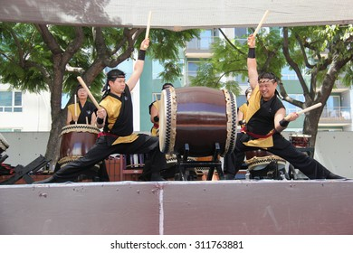 Los Angeles, California, USA - August 16, 2015: Japaneses are performing Japanese percussion instruments at Nisei Week Japanese Festival in Little Tokyo, Los Angeles.