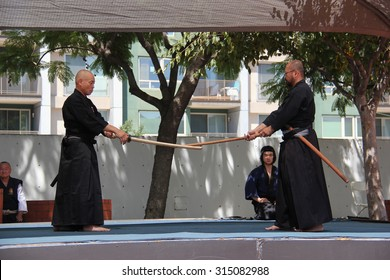 Los Angeles, California, USA - August 16, 2015: Kendo, widely practiced in many countries across the world, is a modern Japanese martial art using bamboo swords and protective armour.