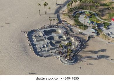 Los Angeles, California, USA - August 6, 2016:  Aerial view of summer beach goers at the popular Venice Beach Skateboard Park.