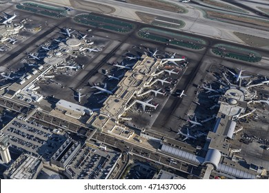 Los Angeles, California, USA - August 16, 2016:  Afternoon aerial view of busy terminals at LAX.