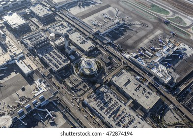 Los Angeles, California, USA - August 16, 2016:  Afternoon aerial view of LAX terminals, aircraft, control tower, and traffic.