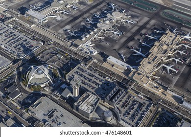 Los Angeles, California, USA - August 16, 2016:  Aerial view of Los Angeles International Airport terminals and airplanes.