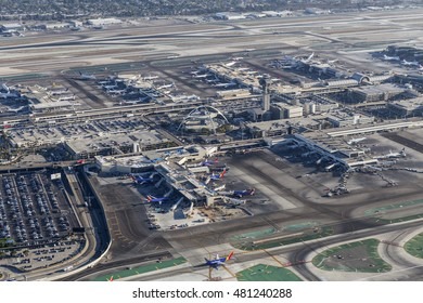 Los Angeles, California, USA - August 16, 2016:  Afternoon aerial view of Los Angeles International Airport terminals and runways.