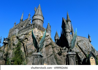Los Angeles, California, USA - August 30, 2016: Hogwart Castle, The Wizarding World of Harry Potter with Blue Sky Background in Universal Studios at Los Angeles, California.