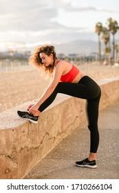 Los Angeles, California / USA - Circa 2020: Fashion & Lifestyle activewear photo-shoot in Santa Monica