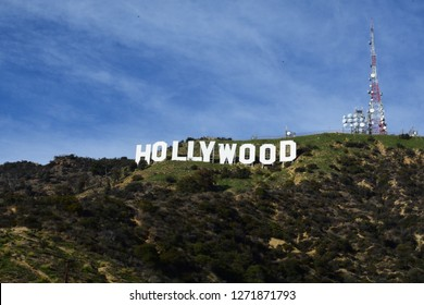 Los Angeles, California / USA - December 30 2018: Up and close to the Hollywood sign in Hollywood Hills in Los Angeles
