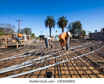 Los Angeles / California / USA - December 20, 2018: Floor decking re-bar installation work new construction home in Los Angeles