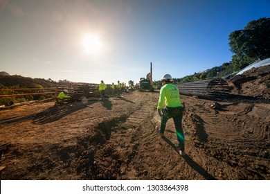 Los Angeles / California / USA - December 5, 2018: Construction workers are working on column re-bar fabrication for piling and foundation of new construction home in Los Angeles