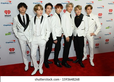 Los Angeles, California / USA - December 6 2019: V, SUGA, Jin, J-Hope, RM, Jimin, and Jungkook of BTS  arrives for the KIIS FM's iHeartRadio Jingle Ball at the Forum Los Angeles in Inglewood, CA