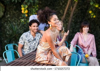 Los Angeles, California / USA -December 2, 2019: Lifestyle smoking vape pool party gathering in Los Angeles