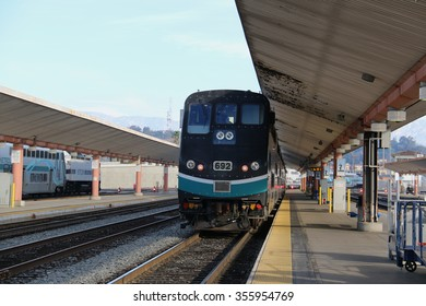 Los Angeles, California, USA - December 21, 2015: Metrolink, founded in 1991 as the Southern California Regional Rail Authority, is a commuter rail system serving Southern California.