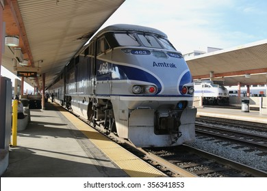 Los Angeles, California, USA - December 21, 2015: Amtrak provides medium and long distance intercity railroad service connecting more than 500 destinations 46 states of United States.