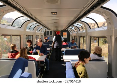 Los Angeles, California, USA - December 21, 2015: Lounge Car on Amtrak provides roomy tables and comfortable seating with panoramic windows on the upper level for passengers to enjoy scenery.
