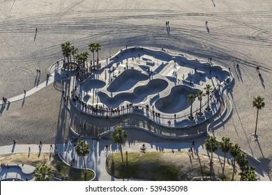 Los Angeles, California, USA - December 17, 2016:  Aerial of Venice beach skateboard park in Southern California.
