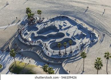 Los Angeles, California, USA - December 17, 2016:  Aerial of popular skateboard park at Venice Beach in Southern California.