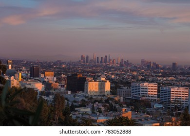 Los Angeles, California / USA - December 12 2017: Cityscape sunset view of Los Angeles city taken from Runyon Canyon Park