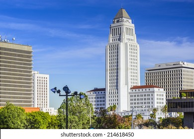 Los Angeles, California, USA downtown cityscape at City Hall.