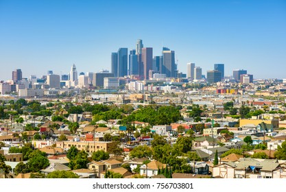 Los Angeles, California, USA downtown cityscape at sunny day