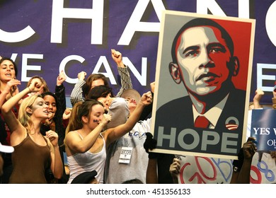 Los Angeles, California, USA; Feb 03, 2008; People cheer during a rally for Democratic Presidential candidate Barack Obama at UCLA in Los Angeles, California.