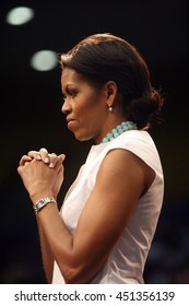 Los Angeles, California, USA; Feb 03, 2008; Michelle Obama campaigns for Democratic Presidential candidate Barack Obama at UCLA in Los Angeles, California.