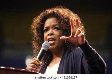 Los Angeles, California, USA; Feb 03, 2008; Oprah Winfrey campaigns for Democratic Presidential candidate Barack Obama at UCLA in Los Angeles, California.