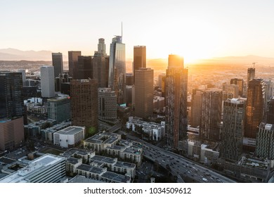 Los Angeles, California, USA - February 20, 2018:  Aerial view of urban downtown Los Angeles skyline at sunrise.