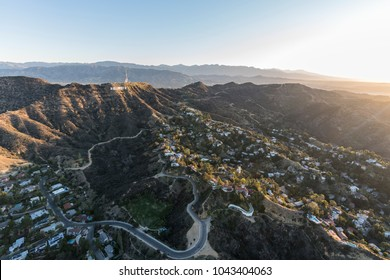 Los Angeles, California, USA - February 20, 2018:  Aerial morning view of Hollywood Sign above hillside homes near popular Griffith Park.