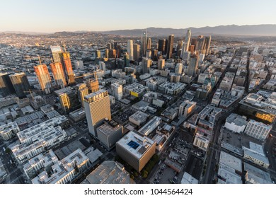 Los Angeles, California, USA - February 20, 2018:  Early morning aerial view of streets and buildings in downtown LA.